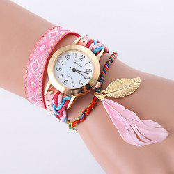 PU Leather Feather Leaf Braid Bracelet Watch - PINK