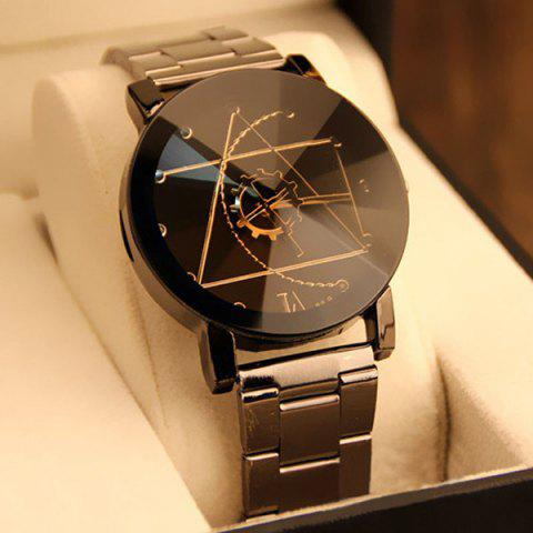 Chic Gear Geometric Steel Band Quartz Watch BLACK