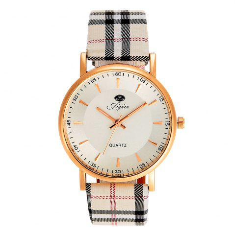 Shops Jijia Golden Case Women Quartz Watch with Plaid Leather Strap - WHITE  Mobile