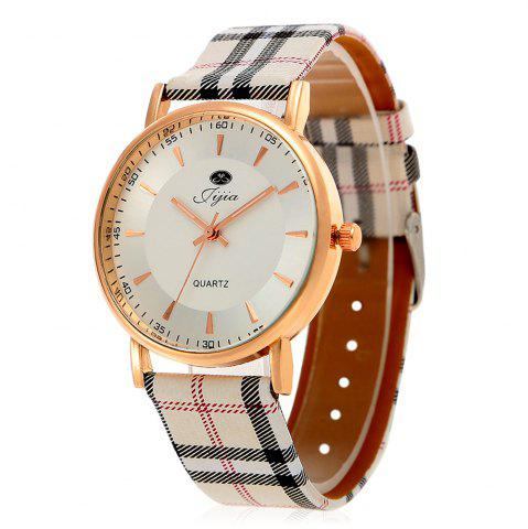 Best Jijia Golden Case Women Quartz Watch with Plaid Leather Strap - WHITE  Mobile
