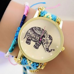 Woven Woolen Ladies Quartz Wrist Watch Elephant Pattern Pull Cords Bracelet -