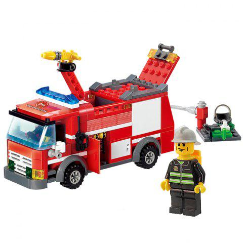 New 206pcs ABS Building Block Fire Engine Model DIY for Kids COLORMIX