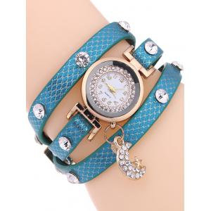 Casual Layered Rhinestone Moon Watch