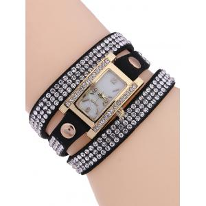 Casual Layered Rivet Rhinestone Watch