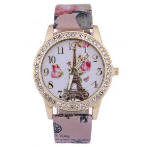 Printed PU Leather Rhinestone Studded Rose Tower Watch - Brown