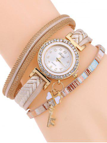 Discount Casual Layered Clover Key Watch - YELLOWISH PINK  Mobile