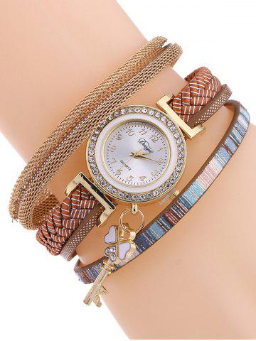 Casual Layered Clover Key Watch - Gold Brown - 38