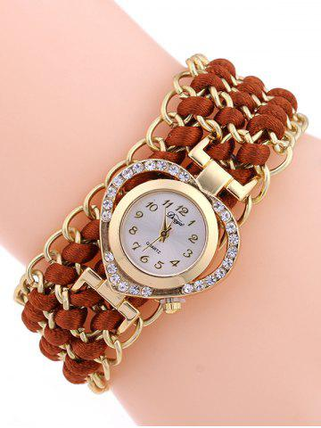 Casual Tiered Rhinestone Heart Watch - RED BROWN