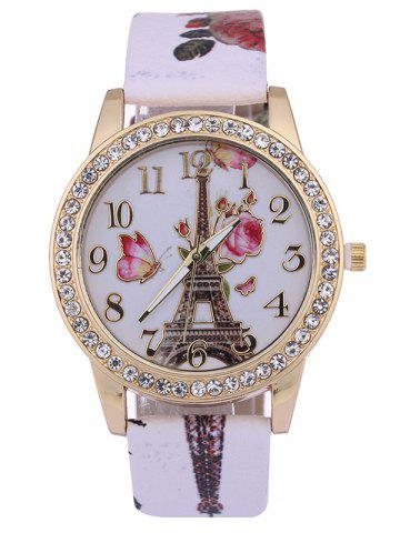 Discount Printed PU Leather Rhinestone Studded Rose Tower Watch WHITE