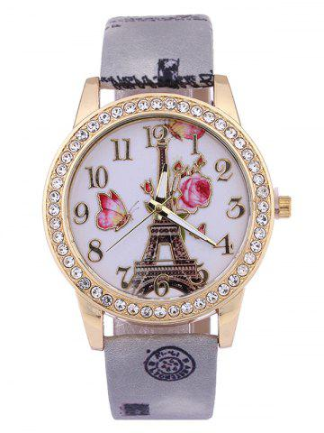Discount Printed PU Leather Rhinestone Studded Rose Tower Watch GRAY