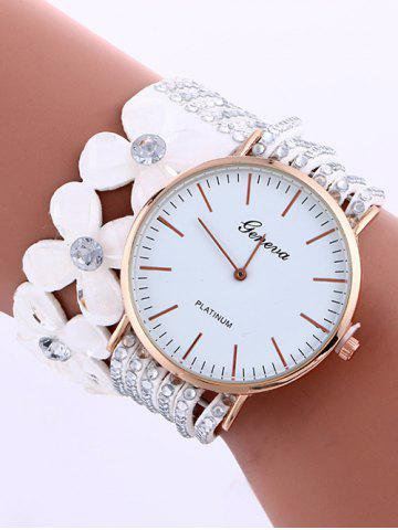 Hot Flower Rhinestone Studded Layered PU Leather Watch