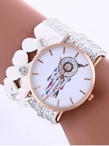 Cheap Feather Mesh Flower Rhinestone Studded Layered PU Leather Watch WHITE
