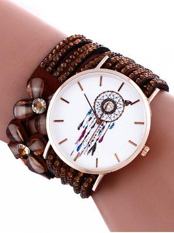 Feather Mesh Flower Rhinestone Studded Layered PU Leather Watch - Brown
