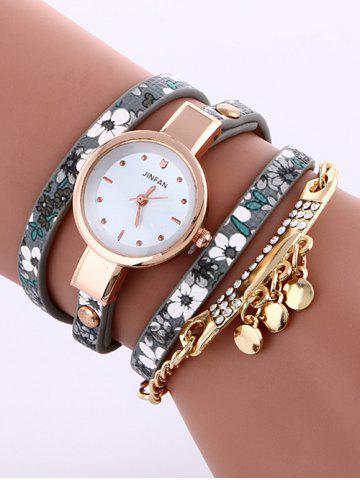 Unique Floral Printed Rhinestone Studded Layered PU Leather Watch