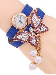 Casual Layered Rhinestone Butterfly Watch -