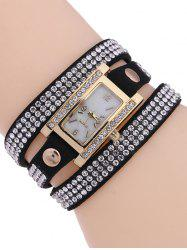 Casual Layered Rivet Rhinestone Watch - BLACK