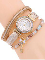 Casual Layered Clover Key Watch - YELLOWISH PINK