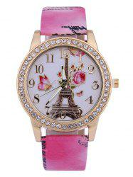 Printed PU Leather Rhinestone Studded Rose Tower Watch - ROSE MADDER