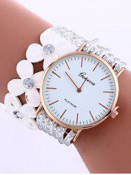 Flower Rhinestone Studded Layered PU Leather Watch -