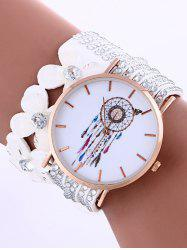 Feather Mesh Flower Rhinestone Studded Layered PU Leather Watch - WHITE