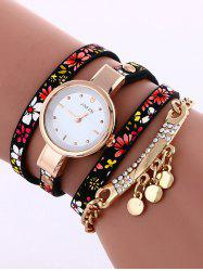 Floral Printed Rhinestone Studded Layered PU Leather Watch -