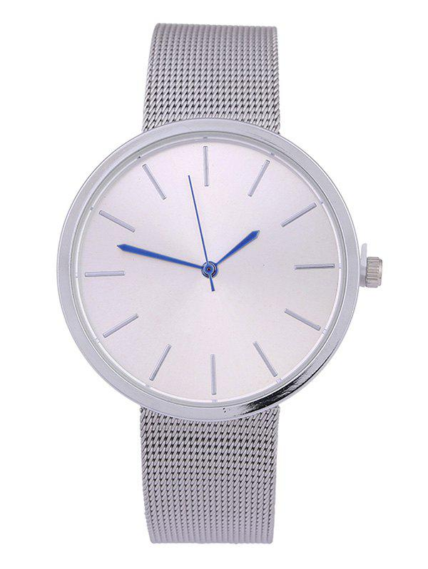 Steel Mesh Band Quartz WatchJEWELRY<br><br>Color: SILVER; Watches categories: Female table;