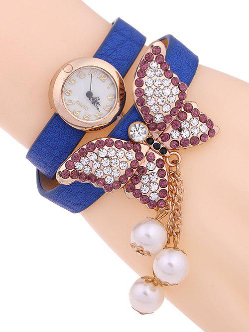 Best Casual Layered Rhinestone Butterfly Watch