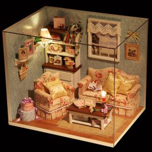 Wooden DIY House Miniature Kit with LED Light Handcraft Toy - COLORMIX