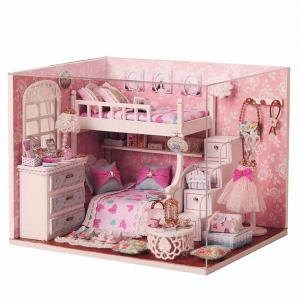 DIY House Miniature Kit with LED Light Children Wooden Handcraft Toy -