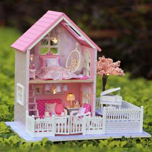 Wooden DIY Doll House Miniature Kit with LED Light Furniture Handcraft Toy -