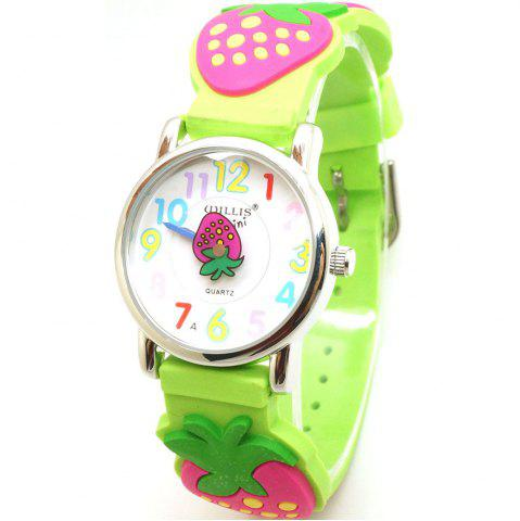 New Beautiful Cartoon Rubber Strap Quartz Watch with Strawberry Patterned Watchband for Children (Green)
