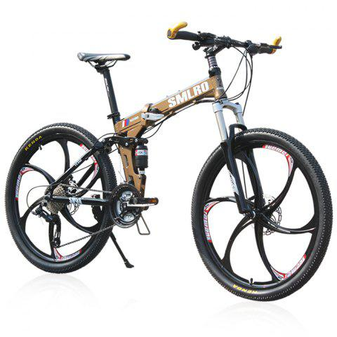 Fashion SMLRO MX980 26 inch Folding Mountain Bike 27 Speed Integrated Wheel Aluminum Alloy Frame Double Disc Brakes Cycling Bicycle -   Mobile