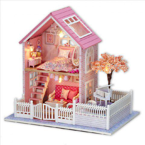 Buy Wooden DIY Doll House Miniature Kit with LED Light Furniture Handcraft Toy