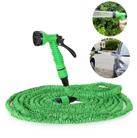 Store 3 Times 7.5m Expandable Hose for Watering Plants / Washing Cars - GREEN  Mobile