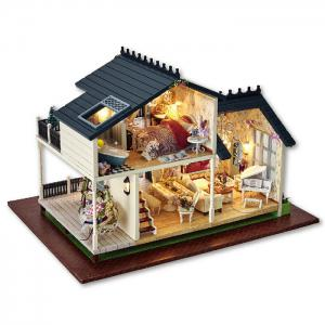DIY Wooden Doll House Furniture Handcraft Miniature Kit with LED Light -