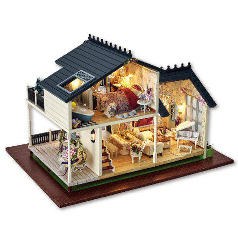 Sale DIY Wooden Doll House Furniture Handcraft Miniature Kit with LED Light - COLORMIX  Mobile