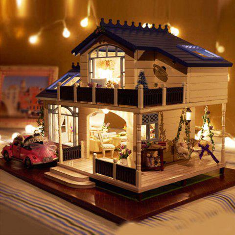 DIY Wooden House Furniture Handcraft Miniature Kit with LED Light - COLORMIX
