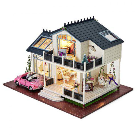 Buy DIY Wooden Doll House Furniture Handcraft Miniature Kit with LED Light - COLORMIX  Mobile