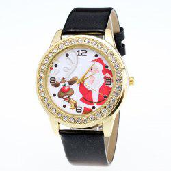Rhinestone Santa Christmas Elk Watch - BLACK
