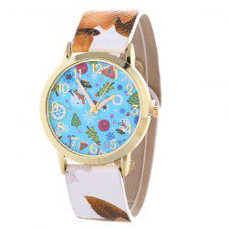 Snowman Christmas Tree Artificial Leather Watch -
