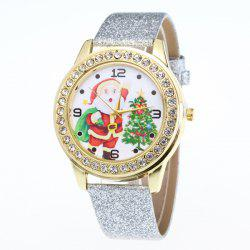Rhinestone Santa Christmas Tree Watch