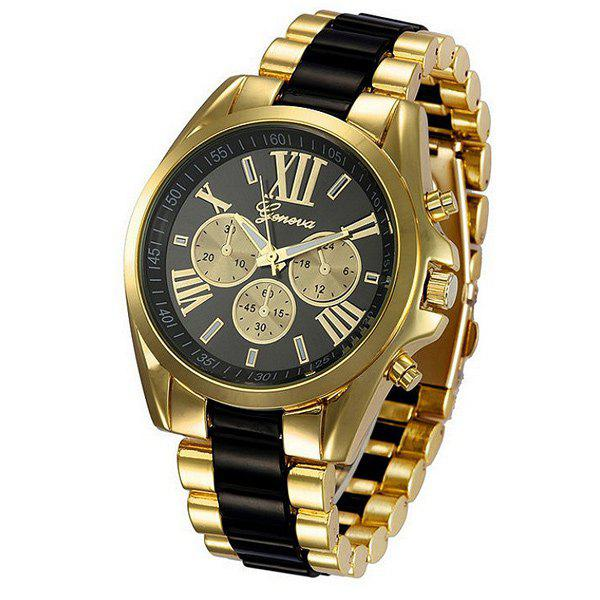 Roman Numerals Steel WatchJEWELRY<br><br>Color: BLACK; Watches categories: Male table;