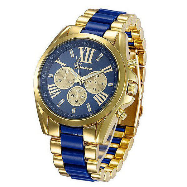Roman Numerals Steel WatchJEWELRY<br><br>Color: BLUE; Watches categories: Male table;