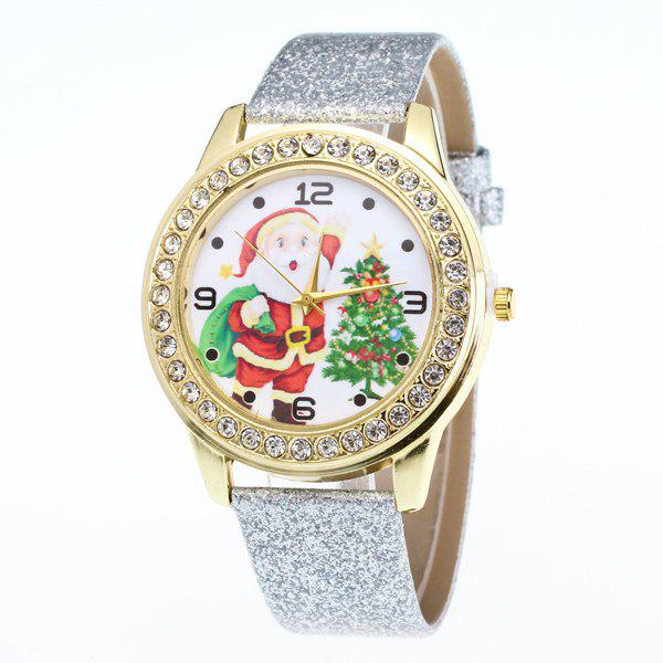Rhinestone Santa Christmas Tree WatchJEWELRY<br><br>Color: SILVER; Watches categories: Female table;