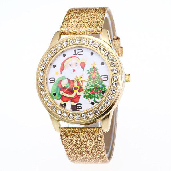 Rhinestone Santa Christmas Tree WatchJEWELRY<br><br>Color: GOLDEN; Watches categories: Female table;
