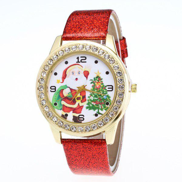 Rhinestone Santa Christmas Tree WatchJEWELRY<br><br>Color: RED; Watches categories: Female table;