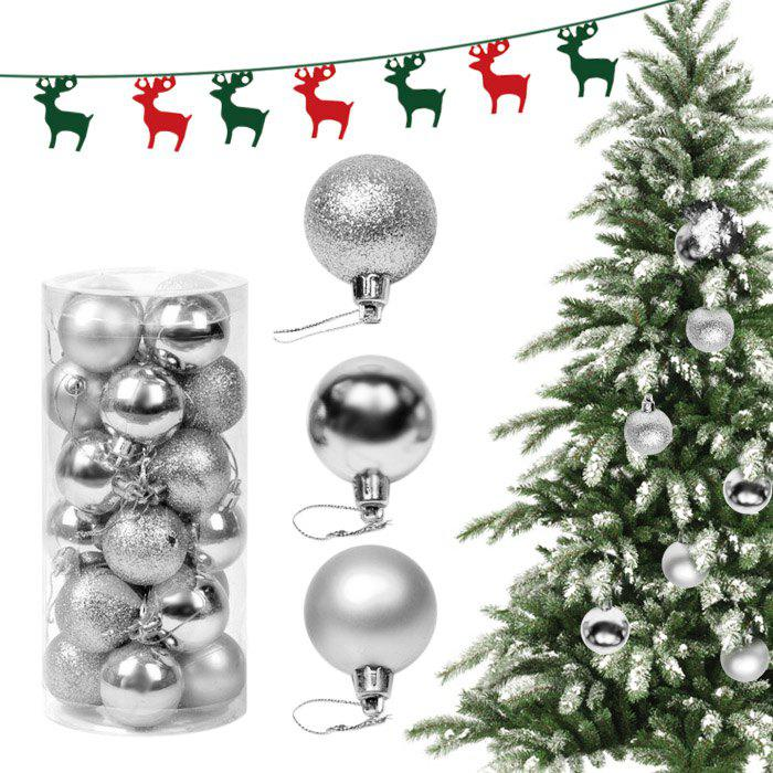 24PCS Christmas Tree Decorative Balls Home DecorationHOME<br><br>Color: SILVER; Product weight: 0.010 kg; Package weight: 0.280 kg; Product size (L x W x H): 4.00 x 4.00 x 4.00 cm / 1.57 x 1.57 x 1.57 inches; Package size (L x W x H): 9.50 x 9.50 x 20.00 cm / 3.74 x 3.74 x 7.87 inches; Package Contents: 24 x Decorative Ball;