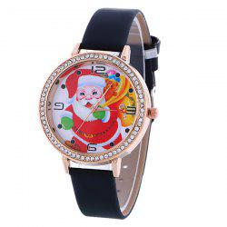 PU Leather Rhinestone Christmas Santa Watch -