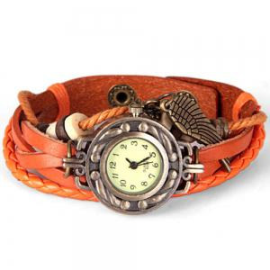 Quartz Watch with Wing Design Round Dial and Leather Watch Band for Women - ORANGE