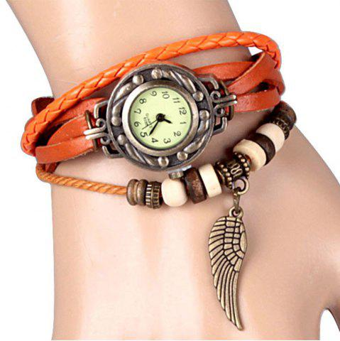 Affordable Quartz Watch with Wing Design Round Dial and Leather Watch Band for Women